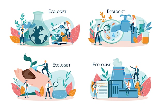 Ecologista cuidando do conceito de terra e natureza. conjunto de cientista cuidando da ecologia e do meio ambiente. proteção do ar, solo e água. ativista ecológico profissional.