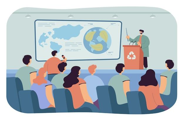 Ecologista fazendo apresentação na conferência. homem no palco atrás da tribuna falando com o público e fazendo perguntas ilustração plana