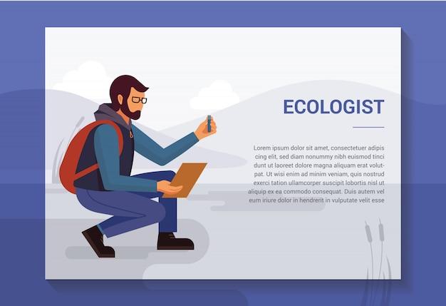 Ecologista na natureza que coleta amostras do modelo do reservatório