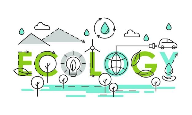 Ecology world lettering composition creative eco tipografia com tipos de energia sustentável