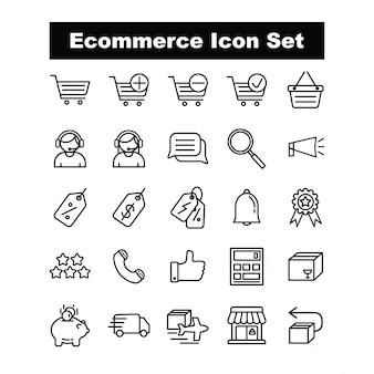 Ecommerce icon set vector - estilo de linha