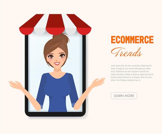 Ecommerce tendências de compras de pessoas on-line.