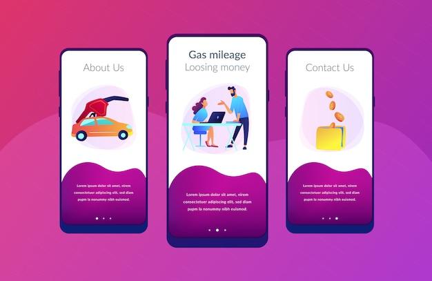Economia de combustível e gás milhagem interface do usuário ux modelo de interface de aplicativo.