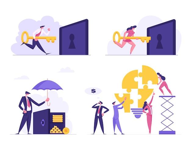 Economia de dinheiro com conjunto de ideias de trabalho em equipe