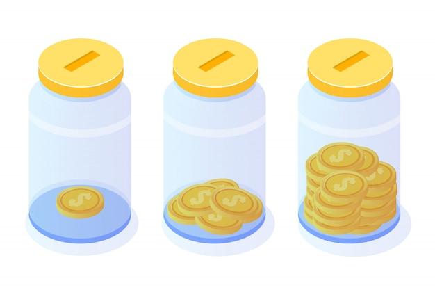 Economia de dinheiro, moeda de dólar no pote, conceito isométrico de crescimento financeiro de sucesso com pilhas de moedas de ouro. ilustração