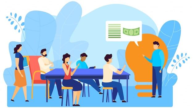 Economia de eletricidade e pessoas de treinamento educacional de negócios em casa inteligente, salvando a ilustração dos desenhos animados do conceito de recursos.
