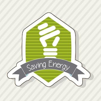 Economia de energia com bulbo sobre vetor de fundo bege