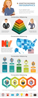 Economia dos eua e planejamento de negócios infográfico conjunto de gráficos