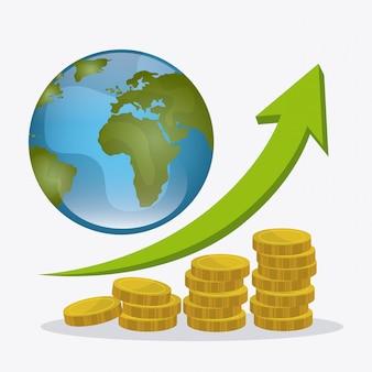 Economia global, dinheiro e design de negócios.