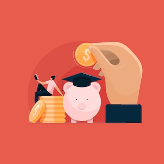 Economia para educação e taxa de investimento para empréstimo caro de bolsa de estudos