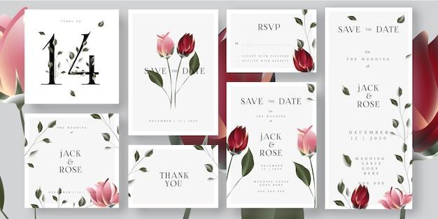 Economias cor-de-rosa florais do casamento os cartões do convite da data