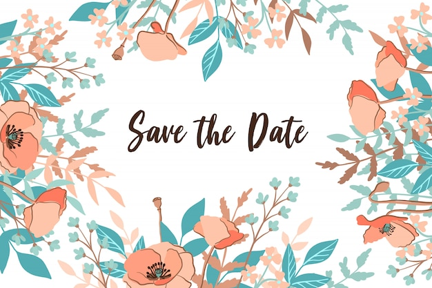 Economias de casamento clássico o cartão de data com fundo de quadro de flor