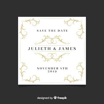 Economias decorativas a data convite de casamento