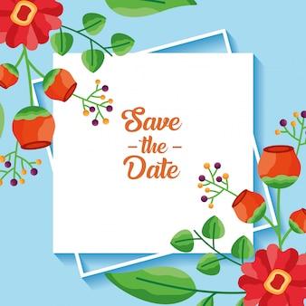 Economias do casamento o cartão das flores da data