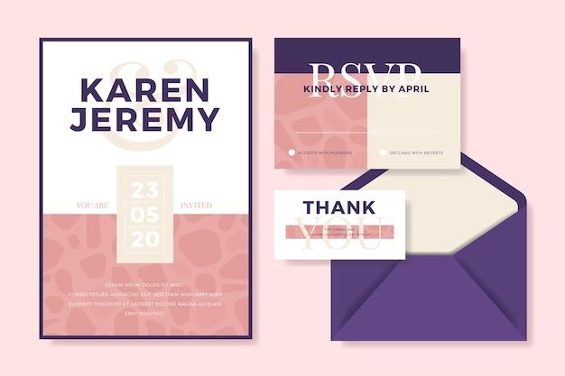 Economias do casamento os artigos de papelaria da data com envelope