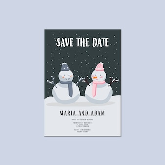 Economias do inverno o convite do casamento da data, par do boneco de neve