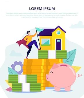 Economias em dinheiro. atingir objetivo comprando casa. vetor.