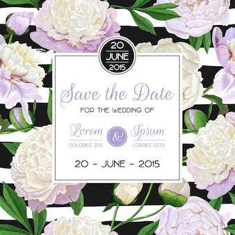 Economias florais do convite do casamento o cartão de data