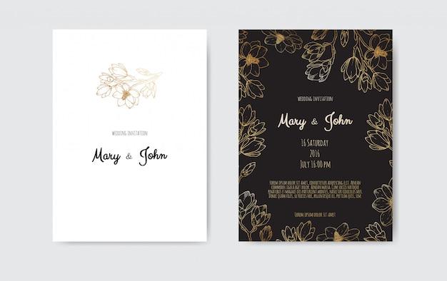 Economias luxuosas do casamento a data, coleção de cartões da marinha do convite com flores da folha de ouro e folhas e grinalda.