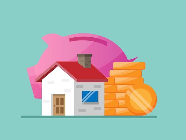 Economizando dinheiro para casa e ilustração imobiliária plana