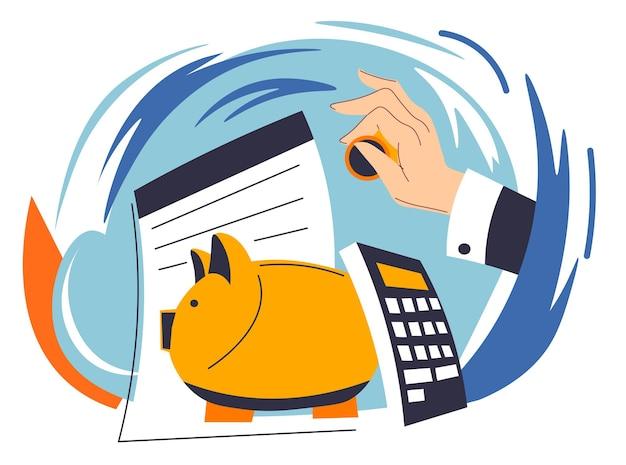 Economizando e investindo dinheiro, a mão do empresário inserindo a moeda no cofrinho. papéis e calculadora para planejamento de orçamento e ativos financeiros. pagamentos e lucros comerciais. vetor em estilo simples