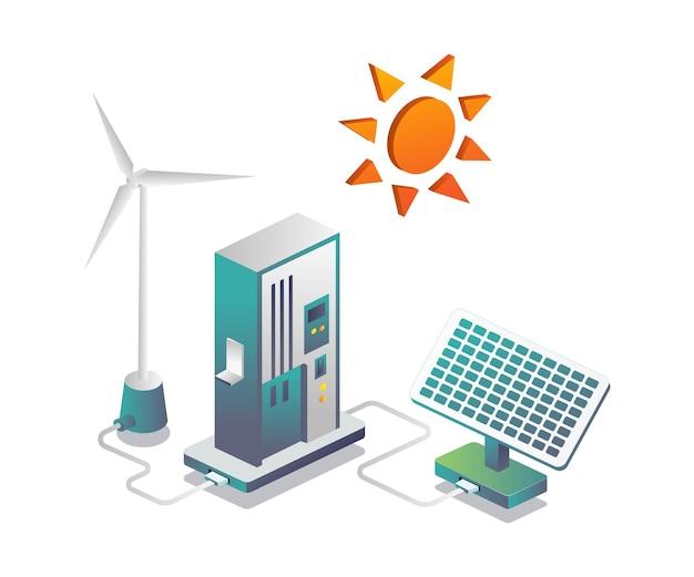 Economizando energia de painéis solares e moinhos de vento