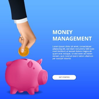Economizando investimento em dinheiro para a gestão orçamentária financeira com mão, coloque moedas de ouro no cofrinho