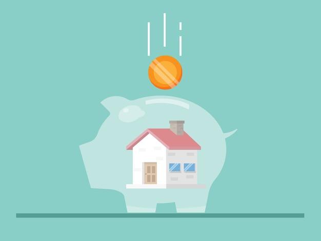 Economizando para casa com ilustração plana do cofrinho