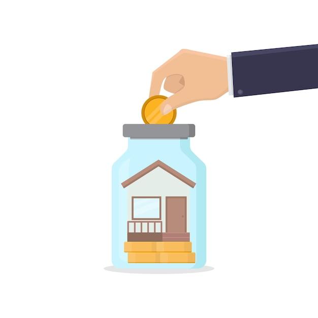 Economizando para comprar uma ilustração de design de casa