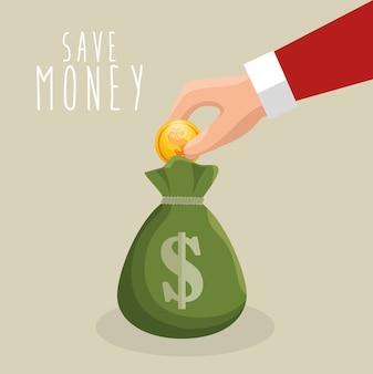 Economizar dinheiro mão colocar con saco de dinheiro
