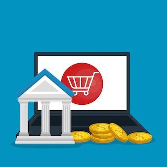 Economizar dinheiro on line com laptop