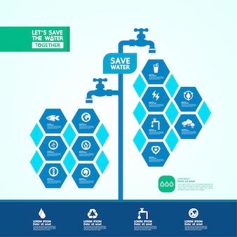 Economize água para ilustração vetorial de ecologia verde