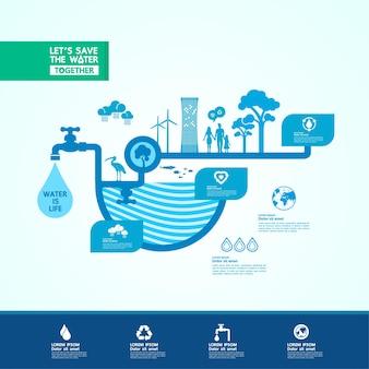 Economize água para o banner mundial de ecologia verde