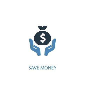 Economize dinheiro conceito 2 ícone colorido. ilustração do elemento azul simples. economizar dinheiro conceito símbolo design. pode ser usado para ui / ux da web e móvel