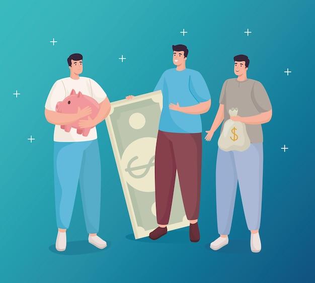 Economize dinheiro dos homens segurando uma nota de porco e uma bolsa