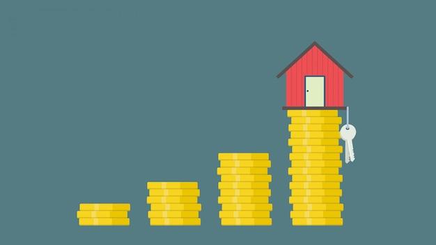 Economize dinheiro para o conceito de hipoteca de investimento por casa do dinheiro de uma moeda