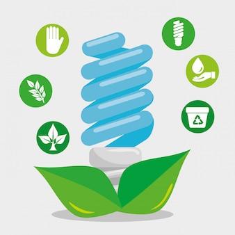 Economize lâmpada com folhas e elemento de ecologia
