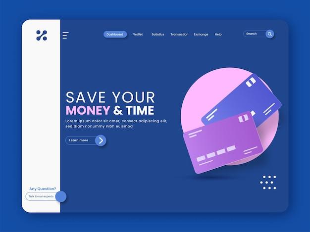 Economize seu dinheiro e página inicial com base no tempo com os cartões de pagamento na cor azul.