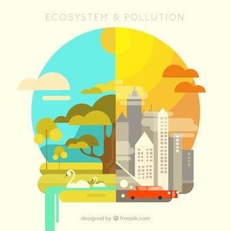 Ecossistema e design de poluição em estilo plano
