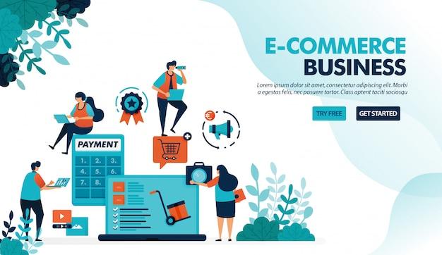 Ecossistema nos negócios de comércio eletrônico, iniciando a escolha do produto, pagamento e método de envio