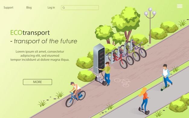 Ecotransporte transporte do futuro, cartoon.