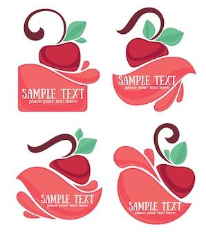 Ector coleção de adesivos de suco e símbolos de cereja para o seu texto