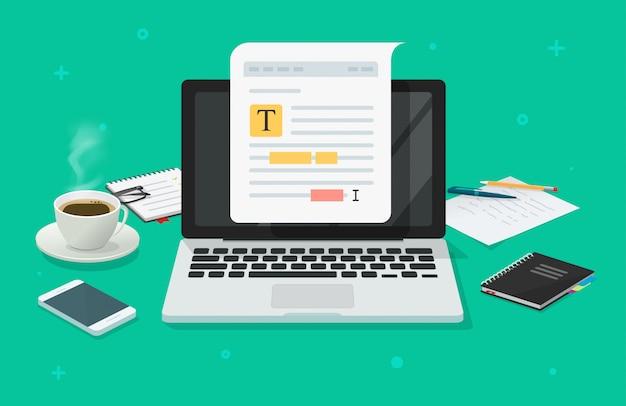Edição de conteúdo de arquivo ou documento de texto on-line no laptop na mesa da mesa de trabalho
