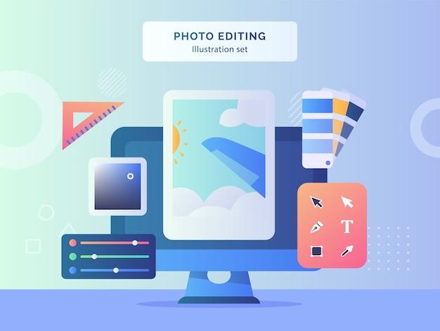 Edição de fotos ilustração conjunto de imagens no monitor de tela do computador fundo da régua cor paleta de texto ferramenta de seleção direta com design de estilo simples