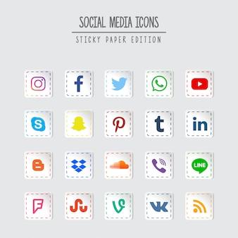 Edição de papel pegajosa de mídia social