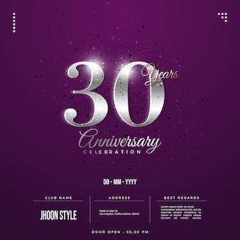 Edição de prata convite para comemoração do 30º aniversário