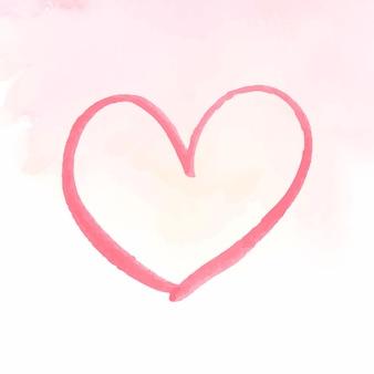 Edição do dia dos namorados do vetor do ícone do coração em aquarela rosa