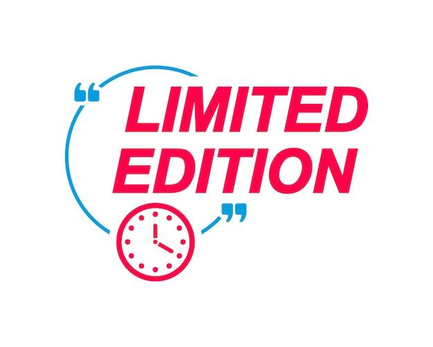 Edição limitada de rótulos de balões de fala com ícone de relógio adesivo de publicidade e marketing