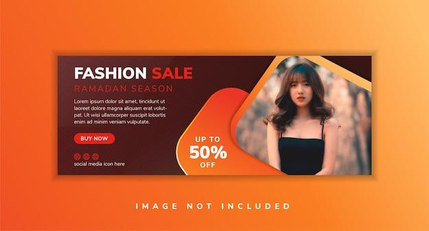 Edição ramadan, capa de venda de moda, mídia social, anúncios de banner ou venda de verão, moda, design de modelo, vermelho escuro e laranja cores gradientes layout horizontal com espaço para foto