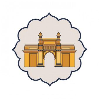 Edificação do gateway do ícone isolado da índia